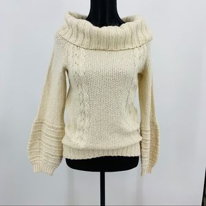Anthropologie NWT Cowl Neck Cable Knit Sweater